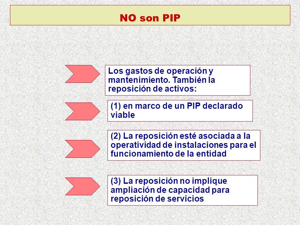 NO son PIP Los gastos de operación y mantenimiento. También la reposición de activos: (1) en marco de un PIP declarado viable (2) La reposición esté a