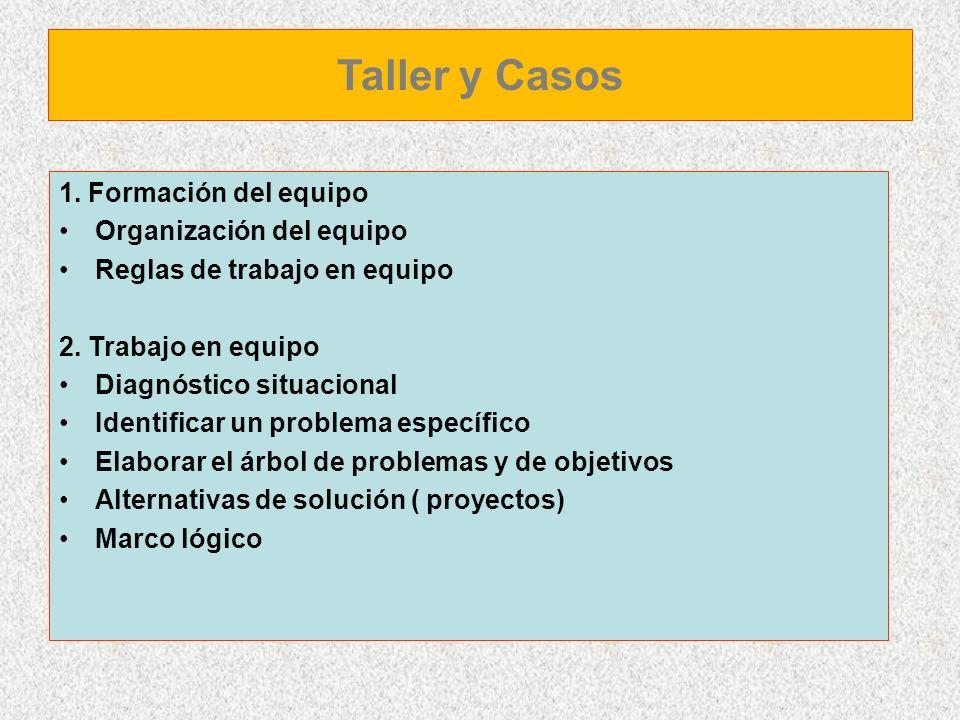 1. Formación del equipo Organización del equipo Reglas de trabajo en equipo 2. Trabajo en equipo Diagnóstico situacional Identificar un problema espec
