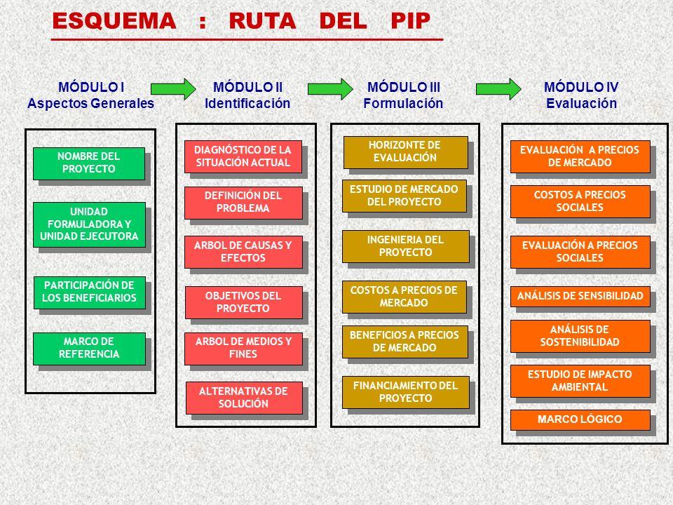 NOMBRE DEL PROYECTO UNIDAD FORMULADORA Y UNIDAD EJECUTORA PARTICIPACIÓN DE LOS BENEFICIARIOS DIAGNÓSTICO DE LA SITUACIÓN ACTUAL DEFINICIÓN DEL PROBLEMA ALTERNATIVAS DE SOLUCIÓN OBJETIVOS DEL PROYECTO ESTUDIO DE MERCADO DEL PROYECTO INGENIERIA DEL PROYECTO HORIZONTE DE EVALUACIÓN BENEFICIOS A PRECIOS DE MERCADO COSTOS A PRECIOS DE MERCADO EVALUACIÓN A PRECIOS DE MERCADO COSTOS A PRECIOS SOCIALES EVALUACIÓN A PRECIOS SOCIALES ESTUDIO DE IMPACTO AMBIENTAL ANÁLISIS DE SOSTENIBILIDAD ANÁLISIS DE SENSIBILIDAD FINANCIAMIENTO DEL PROYECTO MARCO LÓGICO MÓDULO I Aspectos Generales ESQUEMA : RUTA DEL PIP ARBOL DE CAUSAS Y EFECTOS ARBOL DE MEDIOS Y FINES MÓDULO II Identificación MÓDULO III Formulación MÓDULO IV Evaluación MARCO DE REFERENCIA