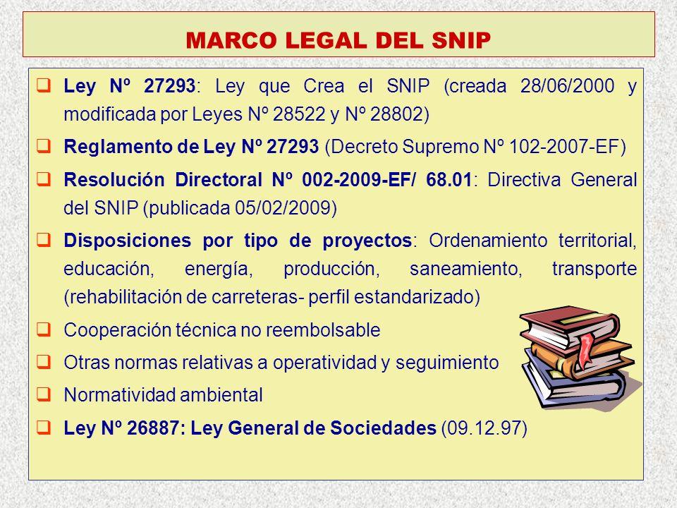 Ley Nº 27293: Ley que Crea el SNIP (creada 28/06/2000 y modificada por Leyes Nº 28522 y Nº 28802) Reglamento de Ley Nº 27293 (Decreto Supremo Nº 102-2