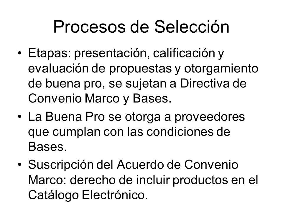 Procesos de Selección Etapas: presentación, calificación y evaluación de propuestas y otorgamiento de buena pro, se sujetan a Directiva de Convenio Ma