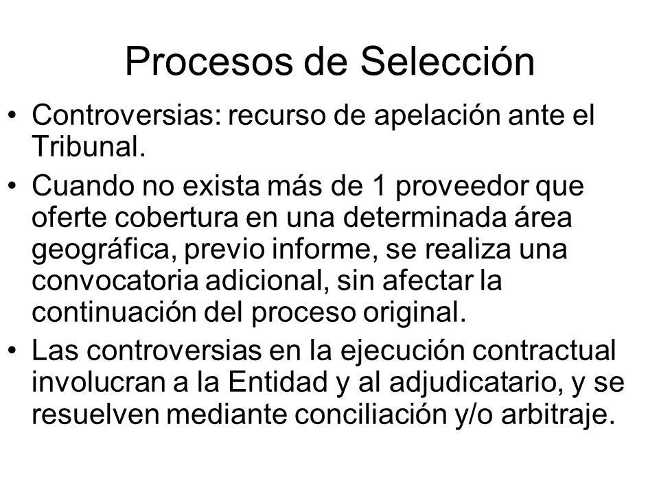 Procesos de Selección Controversias: recurso de apelación ante el Tribunal. Cuando no exista más de 1 proveedor que oferte cobertura en una determinad
