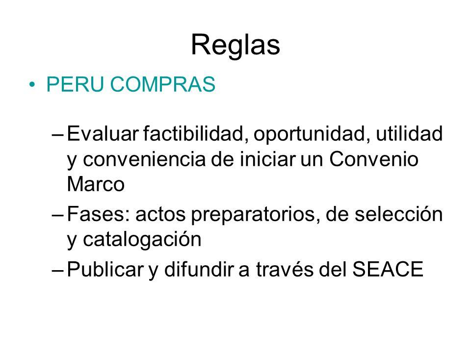 Reglas PERU COMPRAS –Evaluar factibilidad, oportunidad, utilidad y conveniencia de iniciar un Convenio Marco –Fases: actos preparatorios, de selección