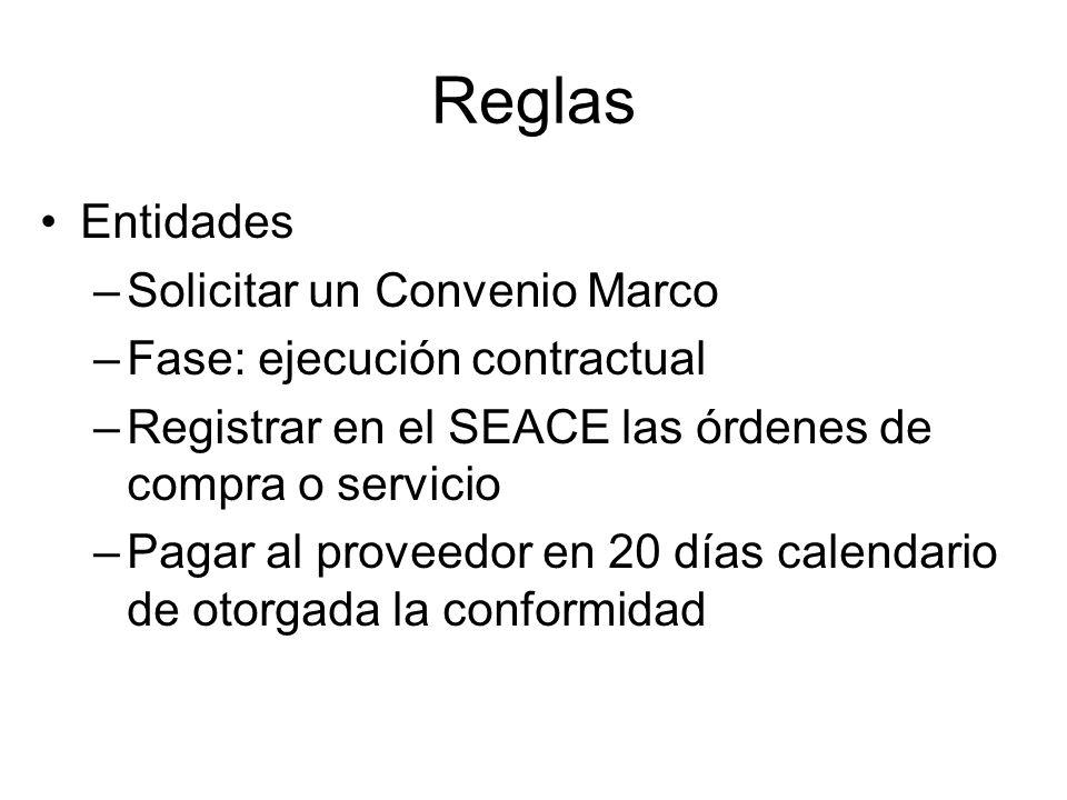 Reglas Entidades –Solicitar un Convenio Marco –Fase: ejecución contractual –Registrar en el SEACE las órdenes de compra o servicio –Pagar al proveedor