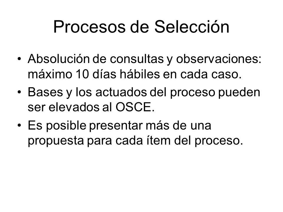 Procesos de Selección Absolución de consultas y observaciones: máximo 10 días hábiles en cada caso. Bases y los actuados del proceso pueden ser elevad