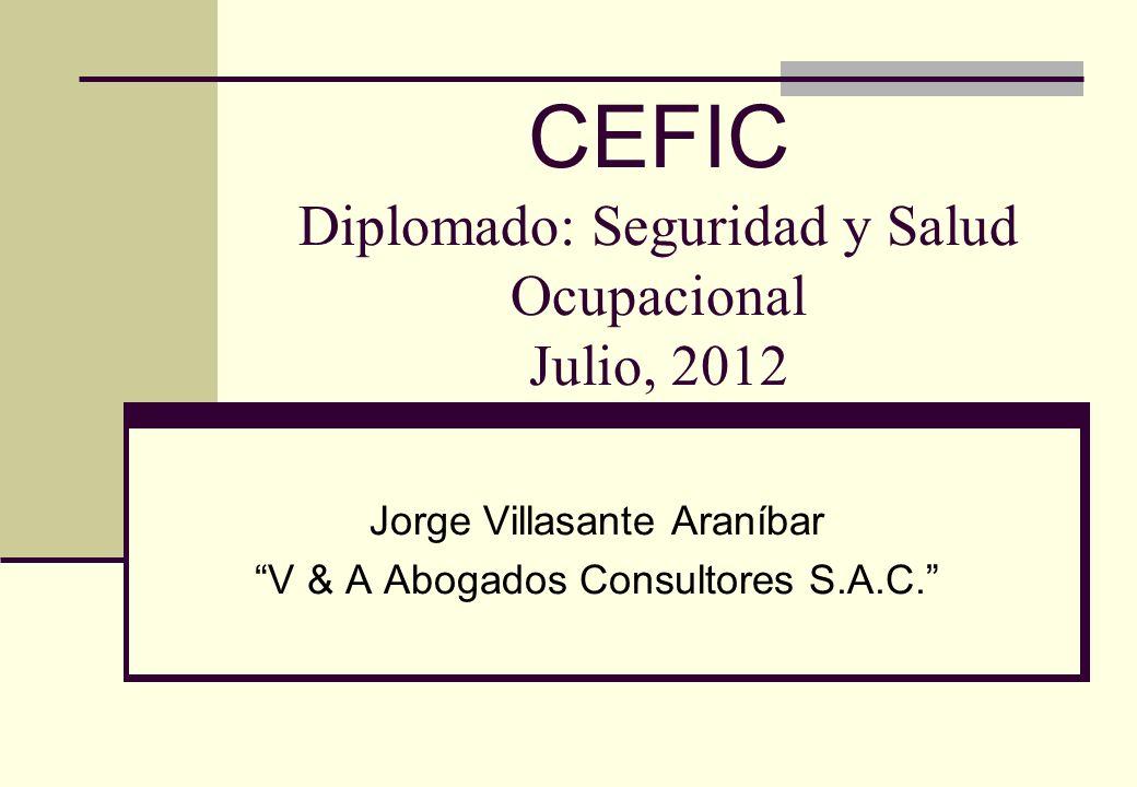 CEFIC Diplomado: Seguridad y Salud Ocupacional Julio, 2012 Jorge Villasante Araníbar V & A Abogados Consultores S.A.C.