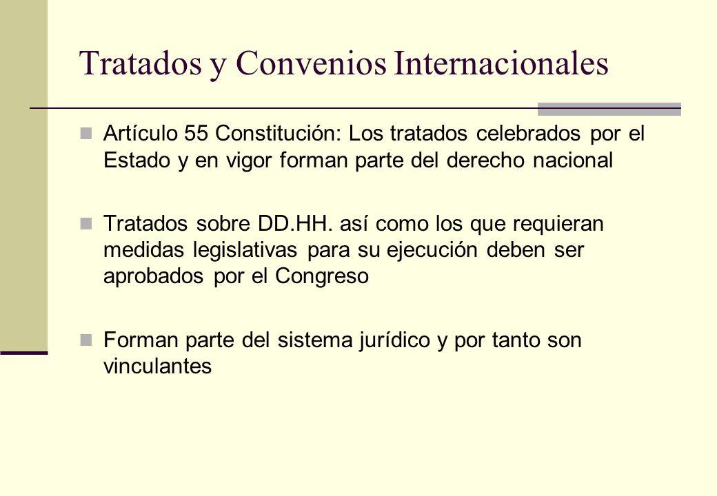 Tratados y Convenios Internacionales Artículo 55 Constitución: Los tratados celebrados por el Estado y en vigor forman parte del derecho nacional Trat