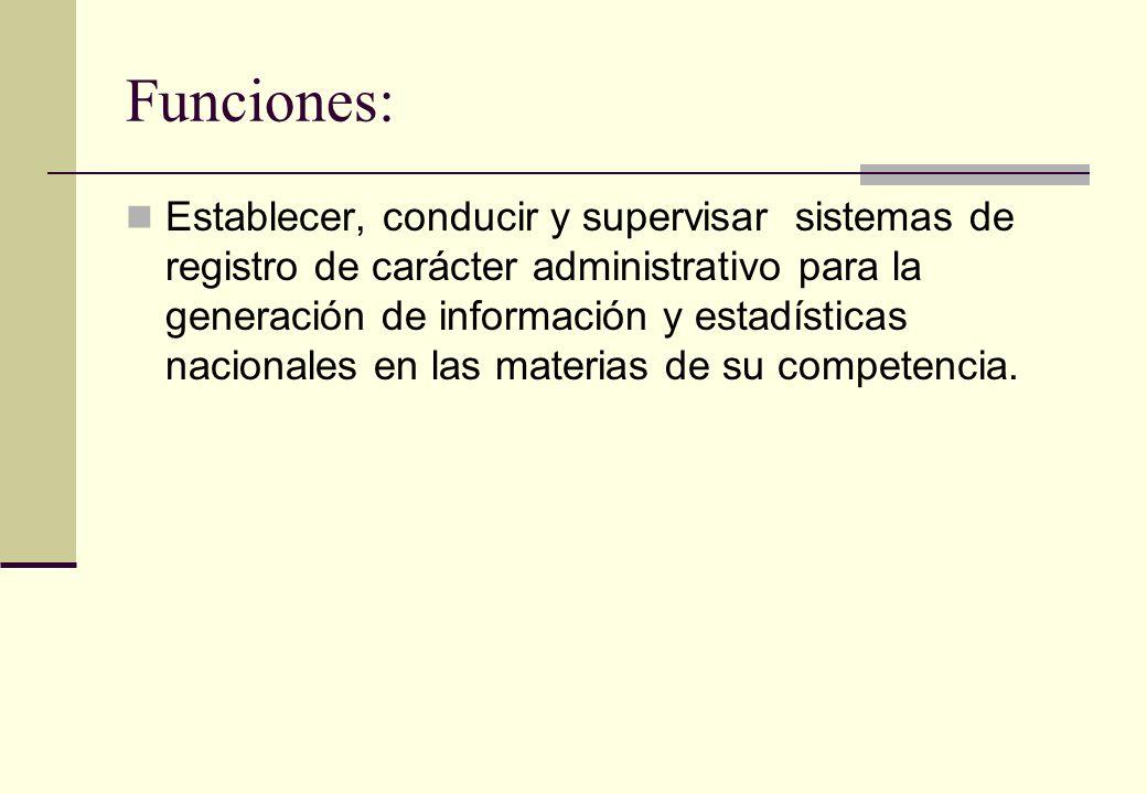Funciones: Establecer, conducir y supervisar sistemas de registro de carácter administrativo para la generación de información y estadísticas nacional
