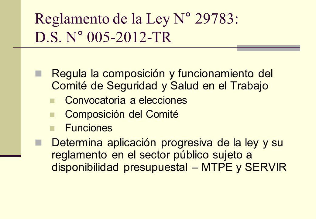 Reglamento de la Ley N° 29783: D.S. N° 005-2012-TR Regula la composición y funcionamiento del Comité de Seguridad y Salud en el Trabajo Convocatoria a