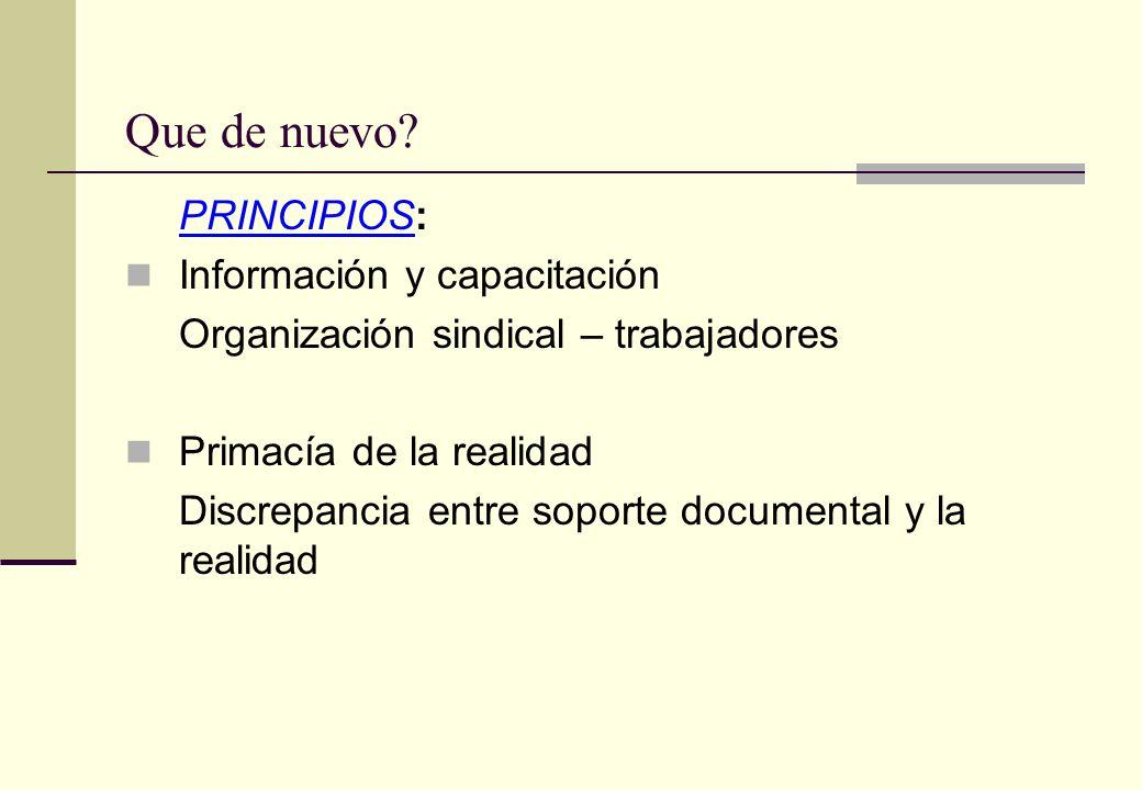 Que de nuevo? PRINCIPIOS: Información y capacitación Organización sindical – trabajadores Primacía de la realidad Discrepancia entre soporte documenta