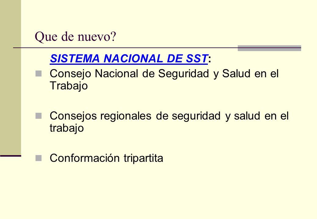 Que de nuevo? SISTEMA NACIONAL DE SST: Consejo Nacional de Seguridad y Salud en el Trabajo Consejos regionales de seguridad y salud en el trabajo Conf