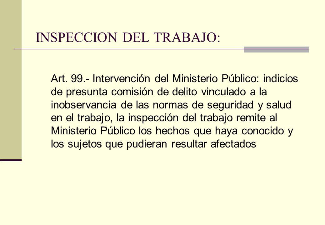 INSPECCION DEL TRABAJO: Art. 99.- Intervención del Ministerio Público: indicios de presunta comisión de delito vinculado a la inobservancia de las nor