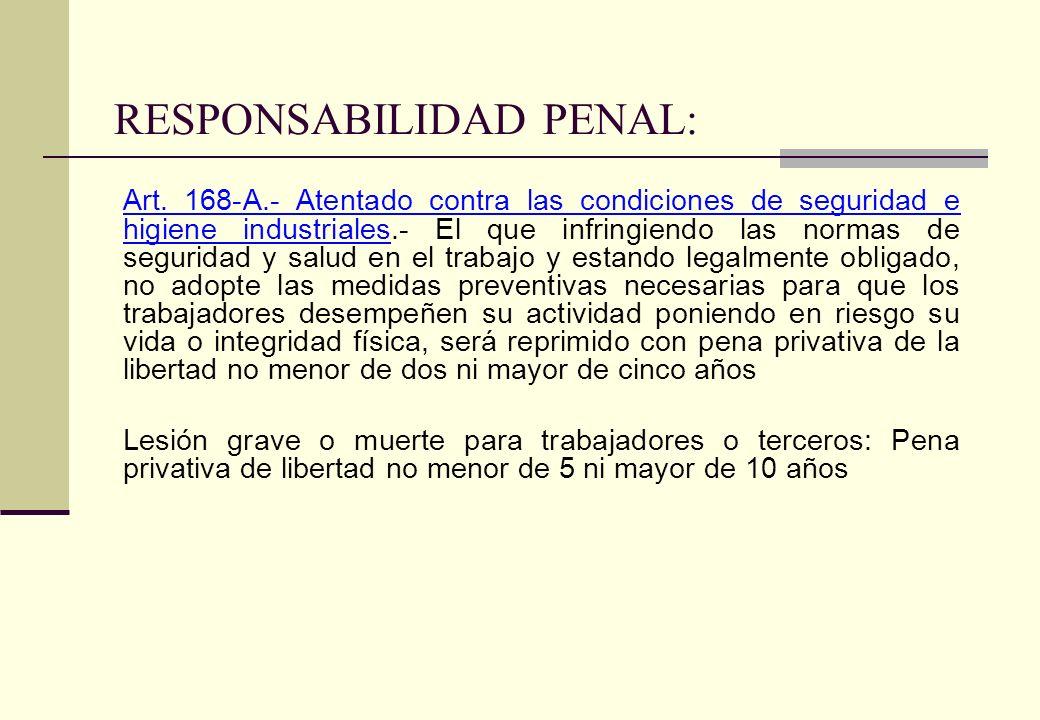 RESPONSABILIDAD PENAL: Art. 168-A.- Atentado contra las condiciones de seguridad e higiene industriales.- El que infringiendo las normas de seguridad