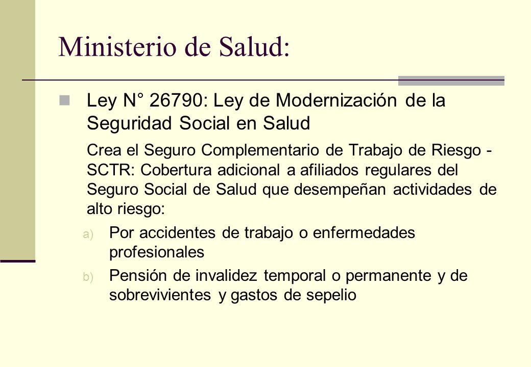 Ministerio de Salud: Ley N° 26790: Ley de Modernización de la Seguridad Social en Salud Crea el Seguro Complementario de Trabajo de Riesgo - SCTR: Cob