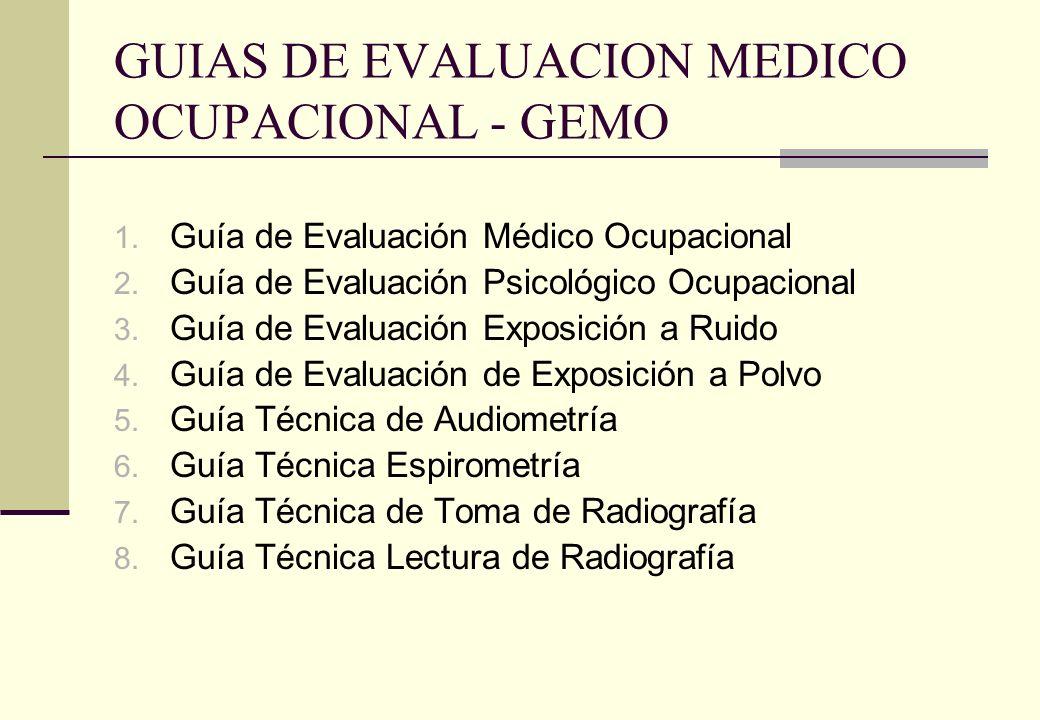 GUIAS DE EVALUACION MEDICO OCUPACIONAL - GEMO 1. Guía de Evaluación Médico Ocupacional 2. Guía de Evaluación Psicológico Ocupacional 3. Guía de Evalua