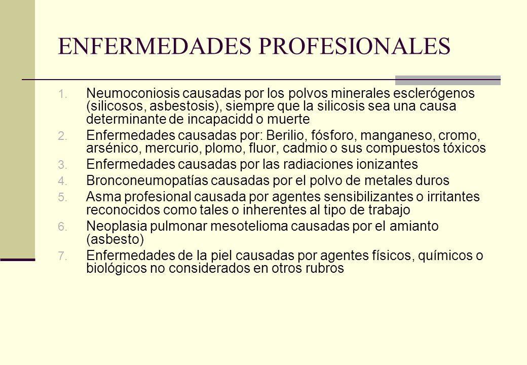 ENFERMEDADES PROFESIONALES 1. Neumoconiosis causadas por los polvos minerales esclerógenos (silicosos, asbestosis), siempre que la silicosis sea una c
