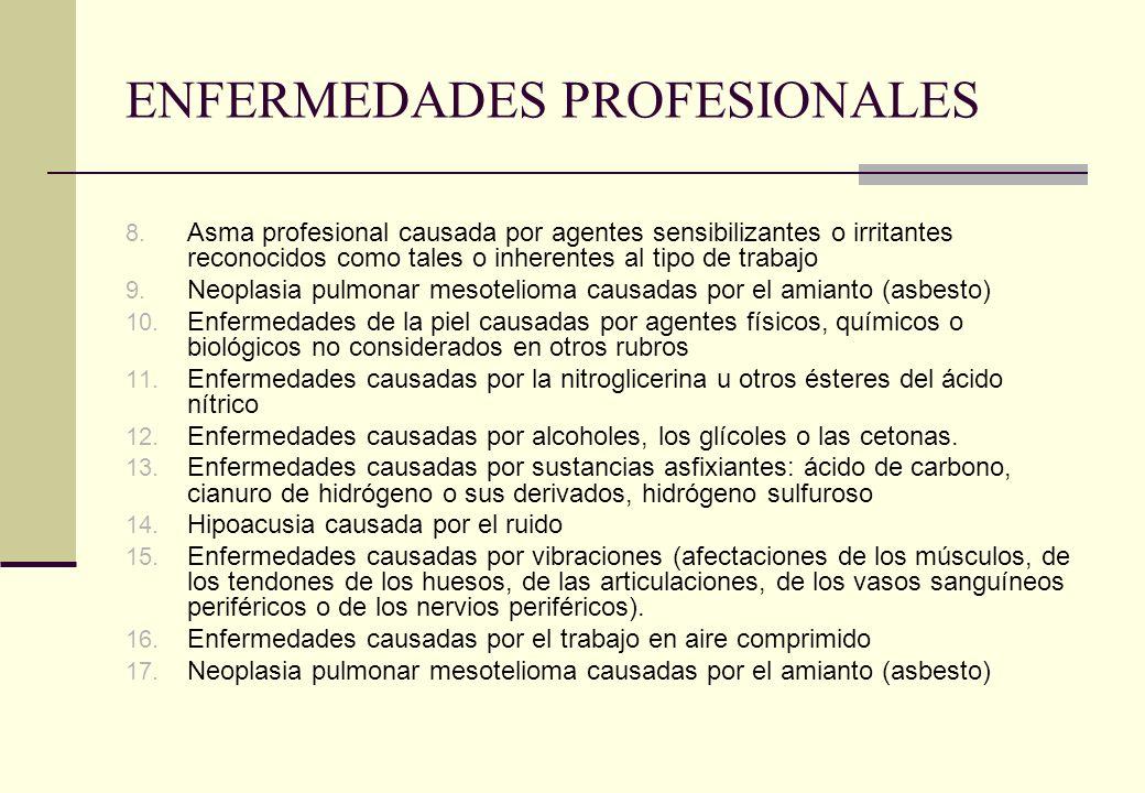 ENFERMEDADES PROFESIONALES 8. Asma profesional causada por agentes sensibilizantes o irritantes reconocidos como tales o inherentes al tipo de trabajo