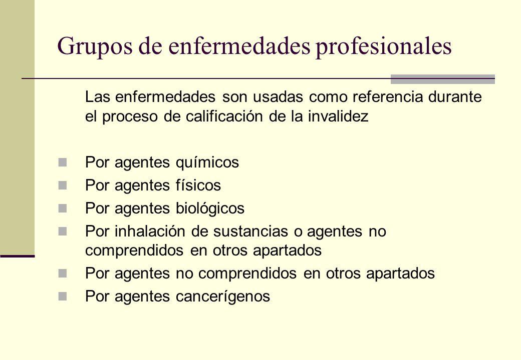Grupos de enfermedades profesionales Las enfermedades son usadas como referencia durante el proceso de calificación de la invalidez Por agentes químic