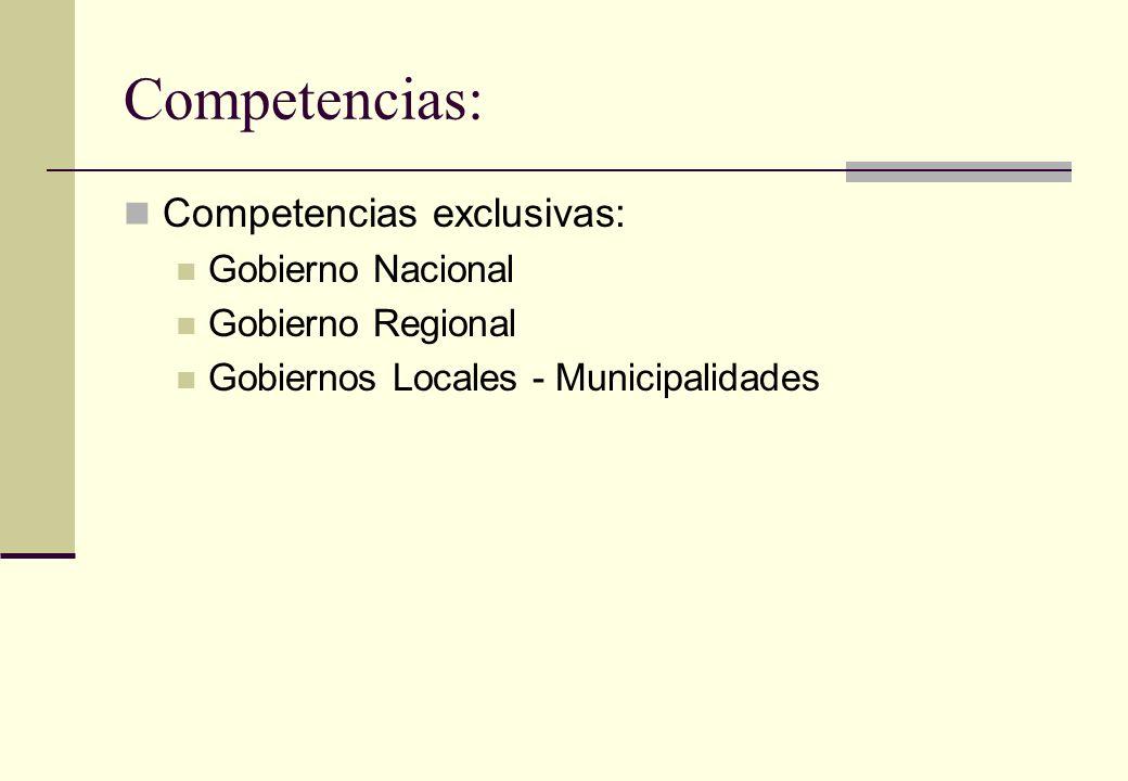 Competencias: Competencias exclusivas: Gobierno Nacional Gobierno Regional Gobiernos Locales - Municipalidades