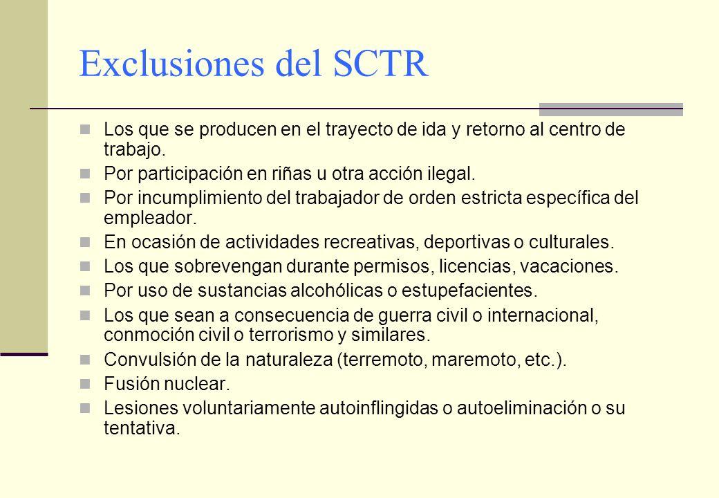 Exclusiones del SCTR Los que se producen en el trayecto de ida y retorno al centro de trabajo. Por participación en riñas u otra acción ilegal. Por in