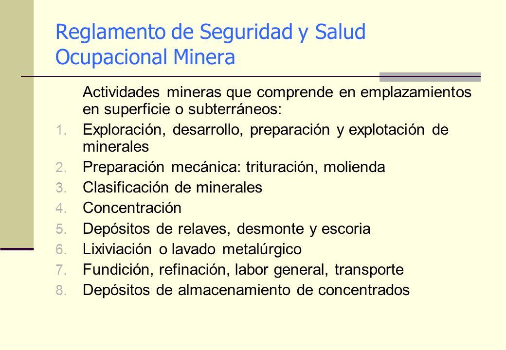 Reglamento de Seguridad y Salud Ocupacional Minera Actividades mineras que comprende en emplazamientos en superficie o subterráneos: 1. Exploración, d