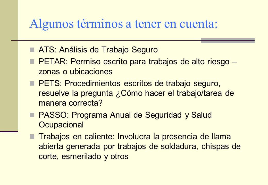 Algunos términos a tener en cuenta: ATS: Análisis de Trabajo Seguro PETAR: Permiso escrito para trabajos de alto riesgo – zonas o ubicaciones PETS: Pr