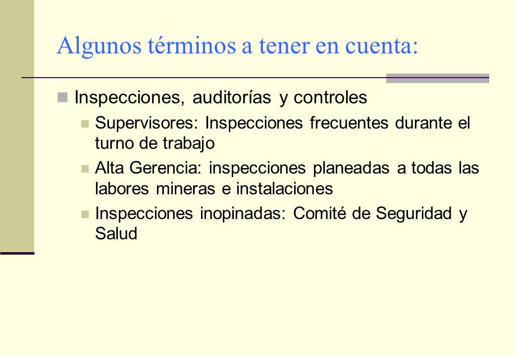 Algunos términos a tener en cuenta: Inspecciones, auditorías y controles Supervisores: Inspecciones frecuentes durante el turno de trabajo Alta Gerenc