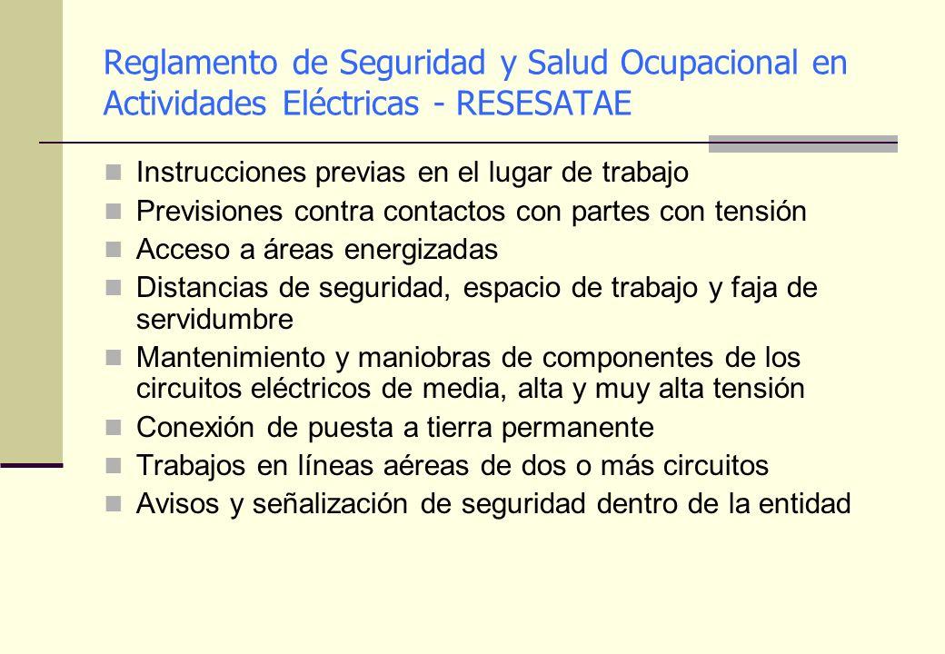 Reglamento de Seguridad y Salud Ocupacional en Actividades Eléctricas - RESESATAE Instrucciones previas en el lugar de trabajo Previsiones contra cont