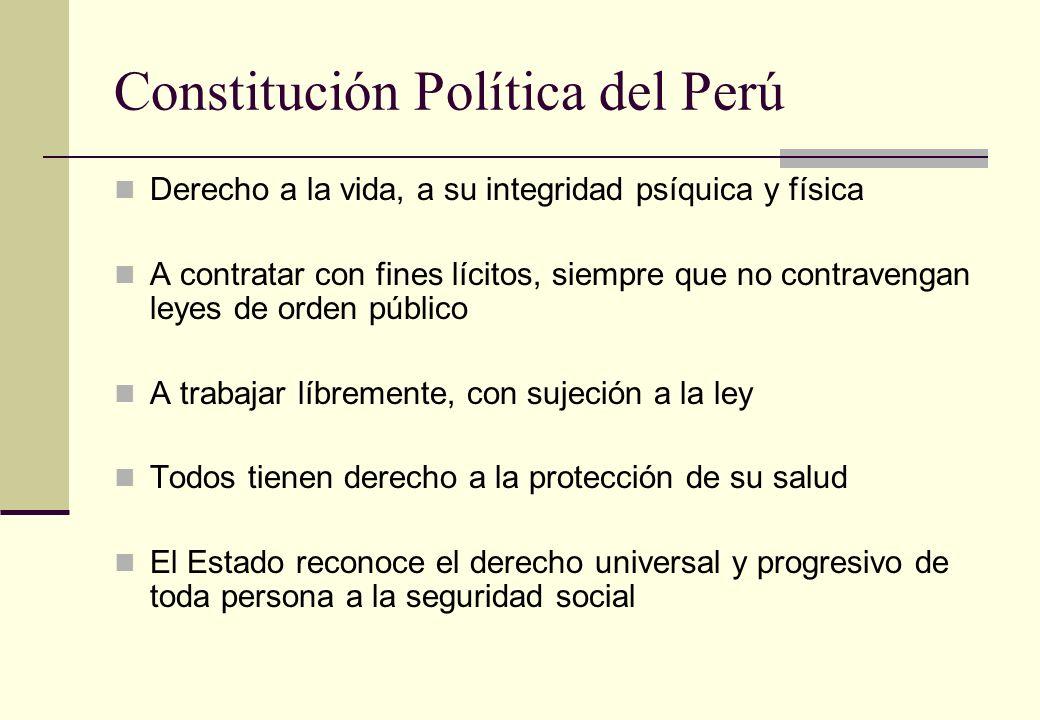 Constitución Política del Perú Derecho a la vida, a su integridad psíquica y física A contratar con fines lícitos, siempre que no contravengan leyes d