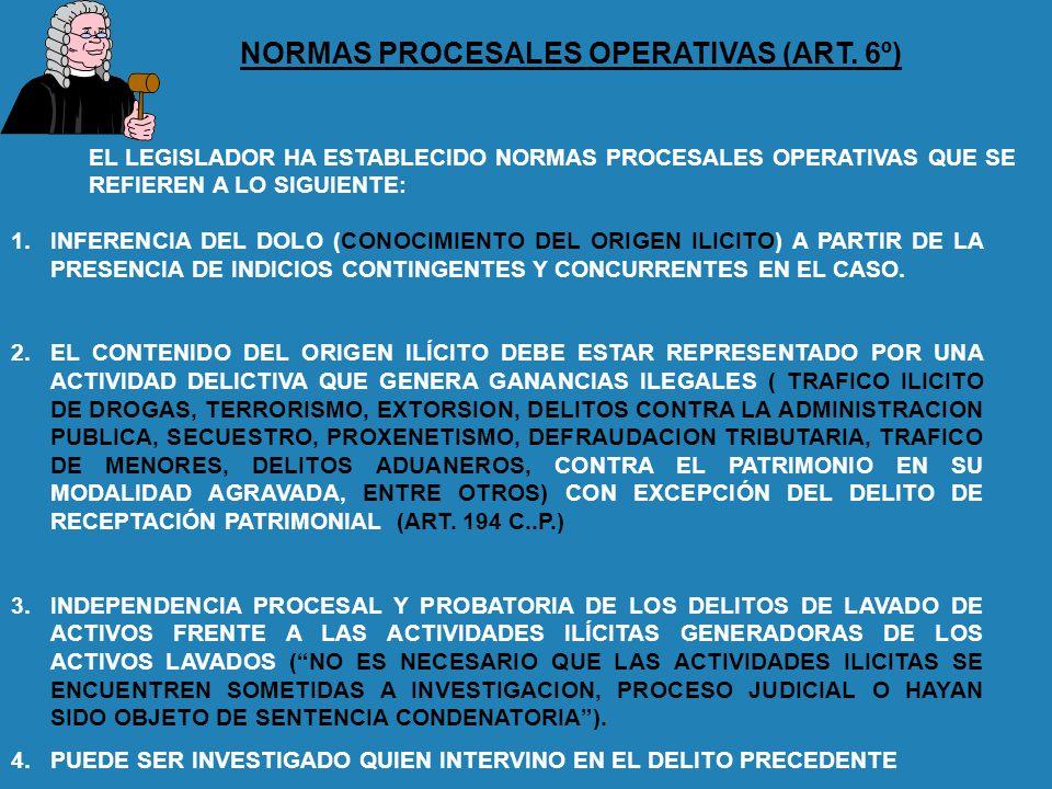 NORMAS PROCESALES OPERATIVAS (ART. 6º) 1.INFERENCIA DEL DOLO (CONOCIMIENTO DEL ORIGEN ILICITO) A PARTIR DE LA PRESENCIA DE INDICIOS CONTINGENTES Y CON