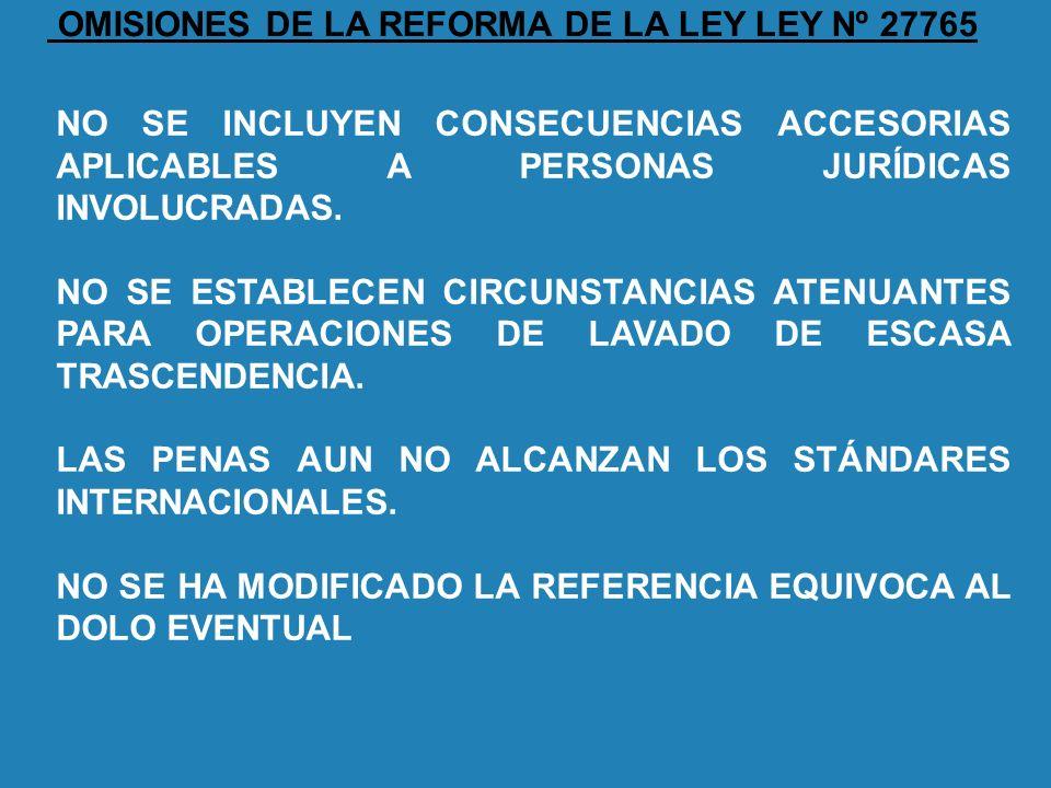 OMISIONES DE LA REFORMA DE LA LEY LEY Nº 27765 NO SE INCLUYEN CONSECUENCIAS ACCESORIAS APLICABLES A PERSONAS JURÍDICAS INVOLUCRADAS. NO SE ESTABLECEN