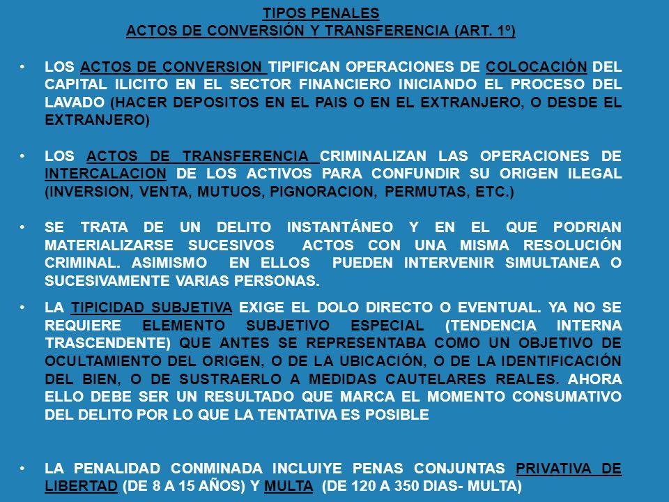 TIPOS PENALES ACTOS DE CONVERSIÓN Y TRANSFERENCIA (ART. 1º) LOS ACTOS DE CONVERSION TIPIFICAN OPERACIONES DE COLOCACIÓN DEL CAPITAL ILICITO EN EL SECT