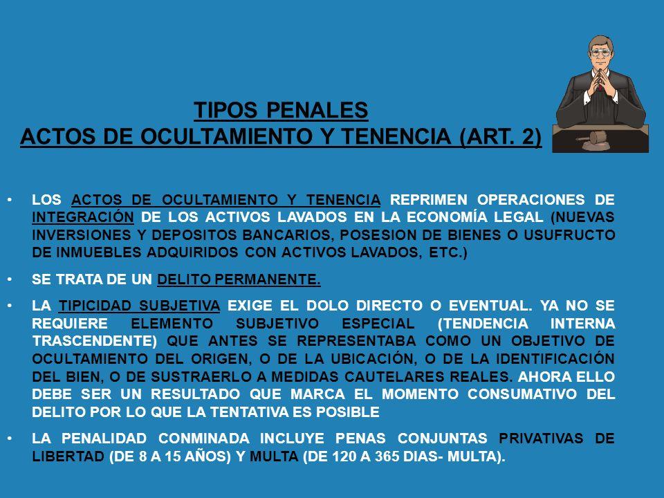 TIPOS PENALES ACTOS DE OCULTAMIENTO Y TENENCIA (ART. 2) LOS ACTOS DE OCULTAMIENTO Y TENENCIA REPRIMEN OPERACIONES DE INTEGRACIÓN DE LOS ACTIVOS LAVADO