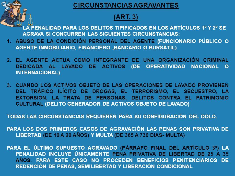 CIRCUNSTANCIAS AGRAVANTES (ART. 3) 1.ABUSO DE LA CONDICIÓN PERSONAL DEL AGENTE (FUNCIONARIO PÚBLICO O AGENTE INMOBILIARIO, FINANCIERO,BANCARIO O BURSÁ