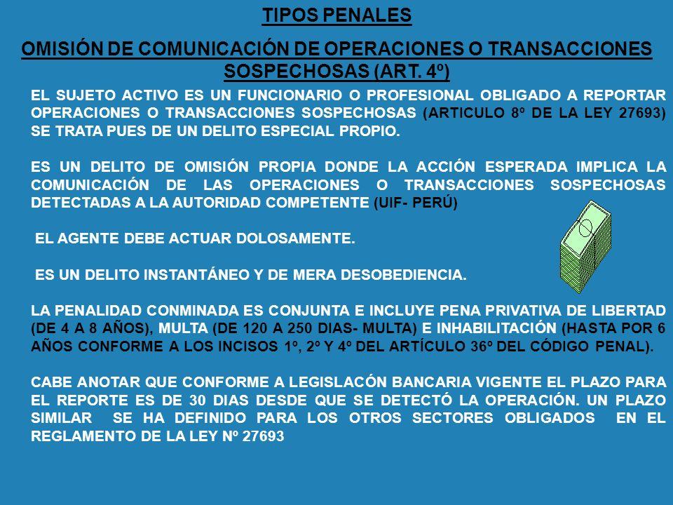 TIPOS PENALES OMISIÓN DE COMUNICACIÓN DE OPERACIONES O TRANSACCIONES SOSPECHOSAS (ART. 4º) EL SUJETO ACTIVO ES UN FUNCIONARIO O PROFESIONAL OBLIGADO A