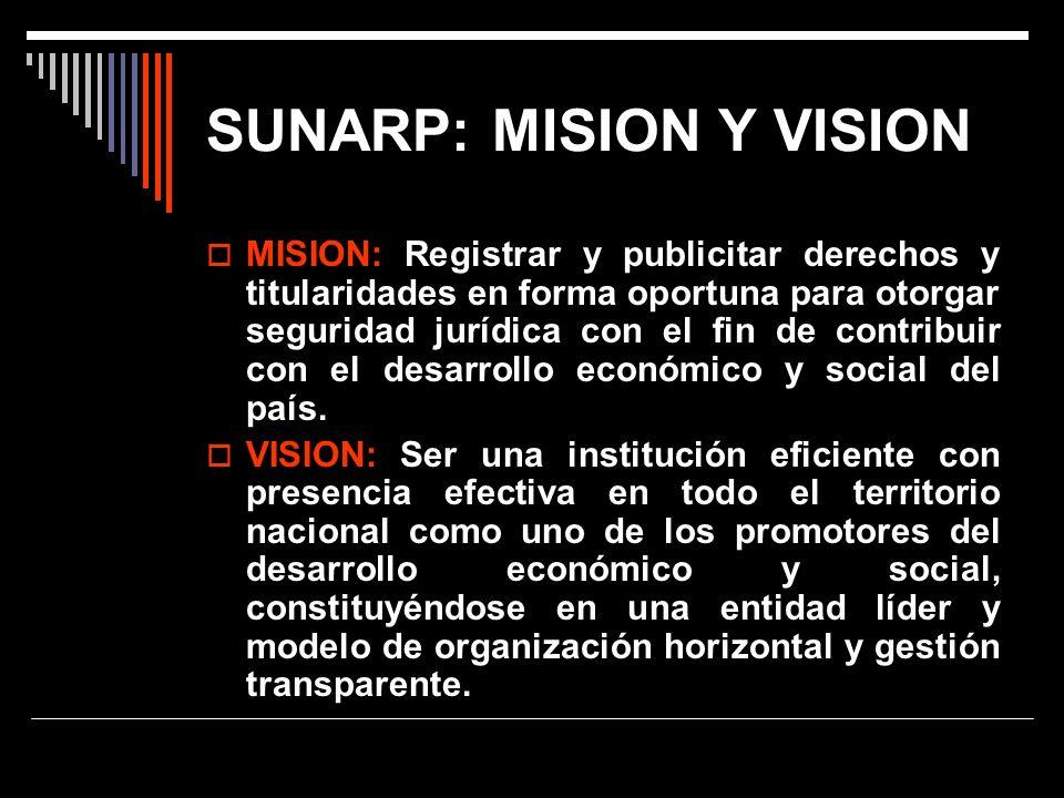 SUNARP: MISION Y VISION MISION: Registrar y publicitar derechos y titularidades en forma oportuna para otorgar seguridad jurídica con el fin de contri