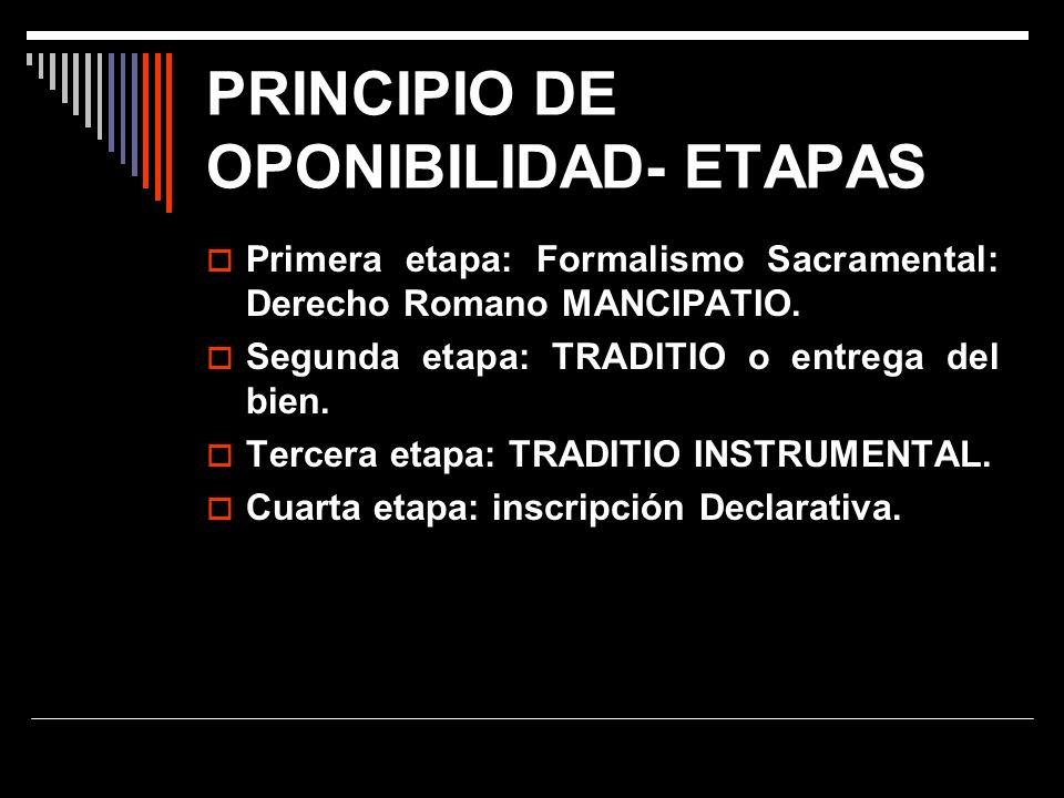 PRINCIPIO DE OPONIBILIDAD- ETAPAS Primera etapa: Formalismo Sacramental: Derecho Romano MANCIPATIO. Segunda etapa: TRADITIO o entrega del bien. Tercer