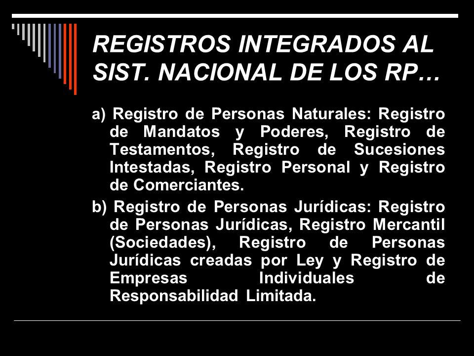REGISTROS INTEGRADOS AL SIST. NACIONAL DE LOS RP… a) Registro de Personas Naturales: Registro de Mandatos y Poderes, Registro de Testamentos, Registro