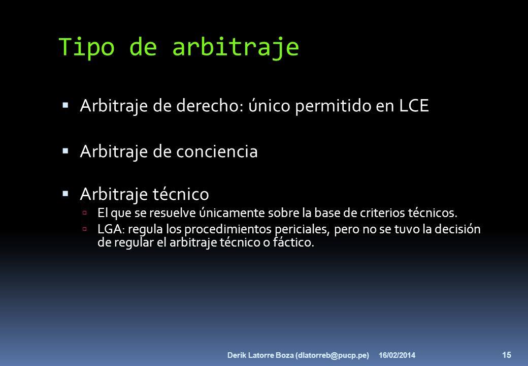 Tipo de arbitraje Arbitraje de derecho: único permitido en LCE Arbitraje de conciencia Arbitraje técnico El que se resuelve únicamente sobre la base d