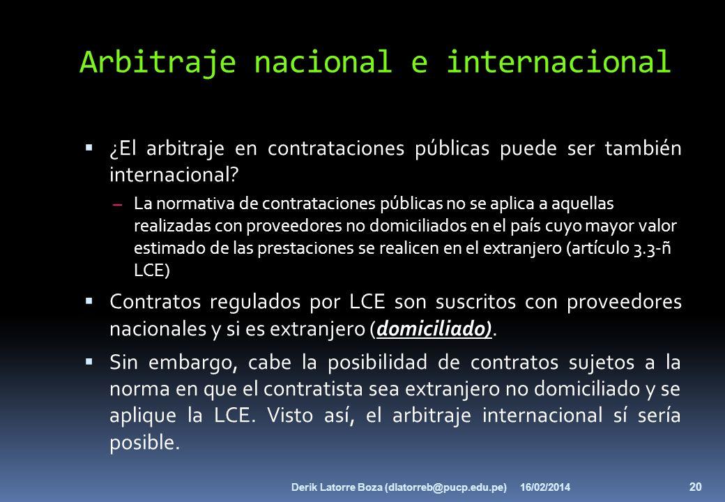 Arbitraje nacional e internacional ¿El arbitraje en contrataciones públicas puede ser también internacional? – La normativa de contrataciones públicas