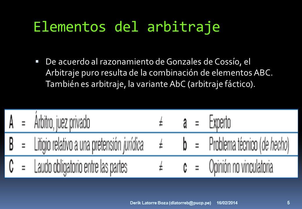 Elementos del arbitraje De acuerdo al razonamiento de Gonzales de Cossío, el Arbitraje puro resulta de la combinación de elementos ABC. También es arb