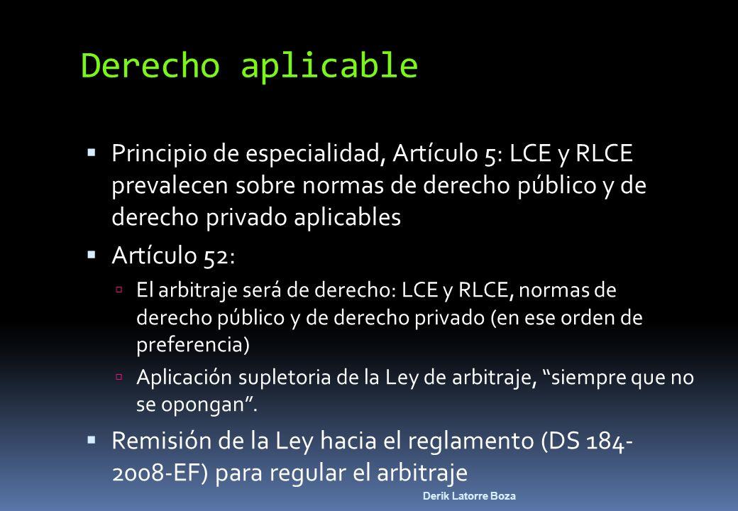 Derik Latorre Boza Principio de especialidad, Artículo 5: LCE y RLCE prevalecen sobre normas de derecho público y de derecho privado aplicables Artícu