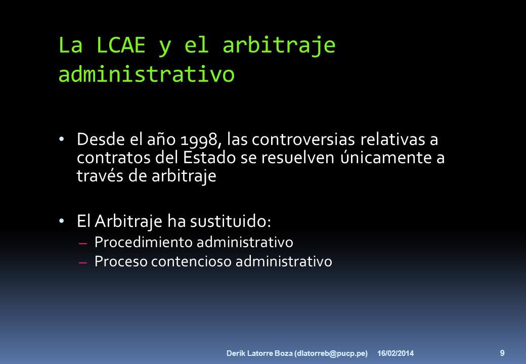 La LCAE y el arbitraje administrativo Desde el año 1998, las controversias relativas a contratos del Estado se resuelven únicamente a través de arbitr