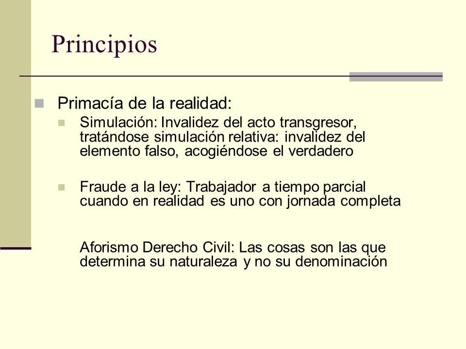 Principios Primacía de la realidad: Simulación: Invalidez del acto transgresor, tratándose simulación relativa: invalidez del elemento falso, acogiénd