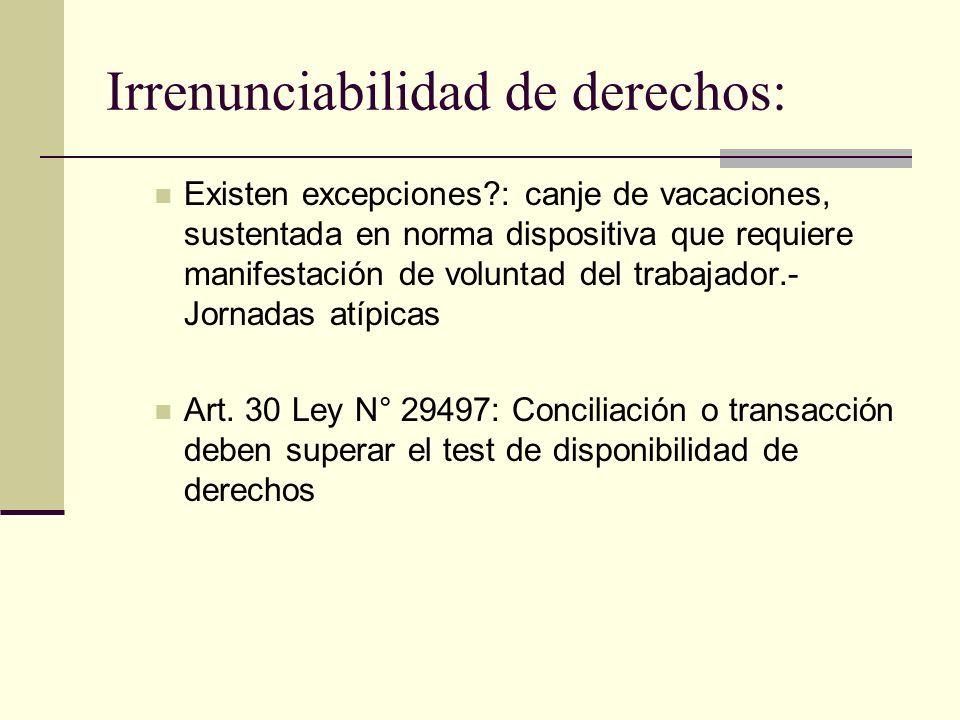 Irrenunciabilidad de derechos: Existen excepciones?: canje de vacaciones, sustentada en norma dispositiva que requiere manifestación de voluntad del t