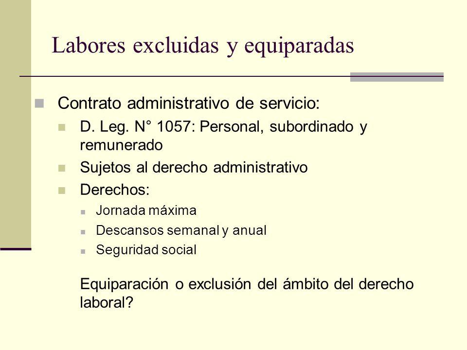 Labores excluidas y equiparadas Contrato administrativo de servicio: D. Leg. N° 1057: Personal, subordinado y remunerado Sujetos al derecho administra