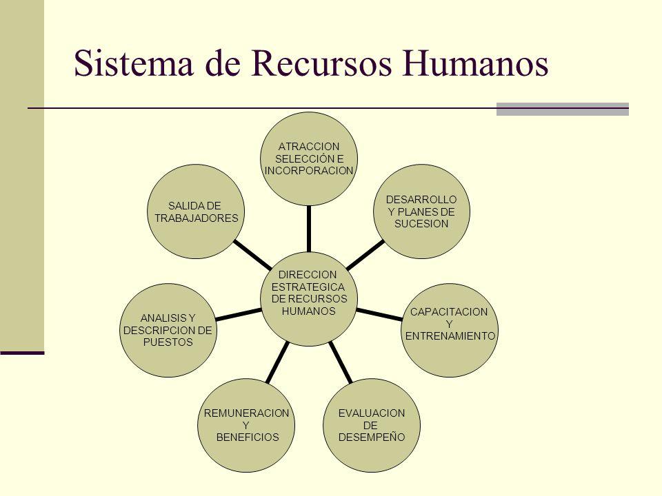 Sistema de Recursos Humanos DIRECCION ESTRATEGICA DE RECURSOS HUMANOS ATRACCION SELECCIÓN E INCORPORACION DESARROLLO Y PLANES DE SUCESION CAPACITACION
