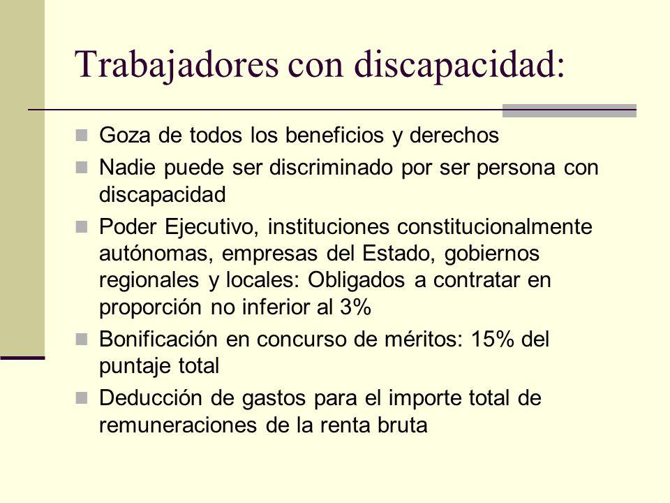 Trabajadores con discapacidad: Goza de todos los beneficios y derechos Nadie puede ser discriminado por ser persona con discapacidad Poder Ejecutivo,