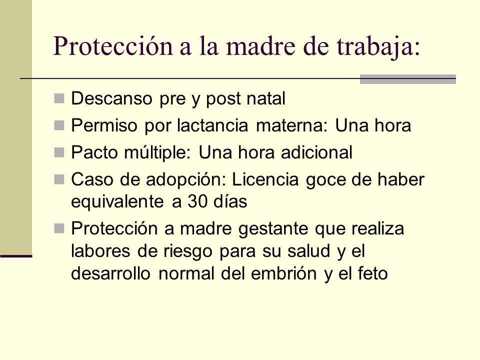 Protección a la madre de trabaja: Descanso pre y post natal Permiso por lactancia materna: Una hora Pacto múltiple: Una hora adicional Caso de adopció