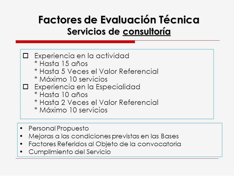 Factores de Evaluación Técnica Servicios de consultoría Experiencia en la actividad * Hasta 15 años * Hasta 5 Veces el Valor Referencial * Máximo 10 s